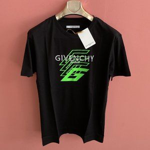 Givenchy Men Chest Embroidery Logo Black T-Shirt